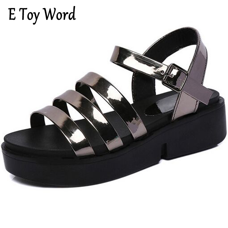 Summer Style Shoes Woman 2017 New Gladiator Sandals Platform Flats Fashion Creepers Women Flat Shoes 3 Colors gladiator sandals 2017 fock women summer comfort flats fashion creepers platform casual shoes woman 2 colors