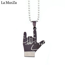 Statement Hiphop Rock Roll I LOVE YOU Gesture Pendant Necklace for Women&Men Chain Collar Collier Femme 2018 Fashion Jewelry(China)