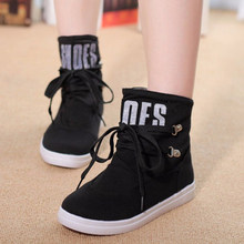 Canvas Fashion Canvas Knight Boots Women's Ankle Boots 2016 Spring Autumn Charming Flats With Buckle Lace-Up Design Cute Solid
