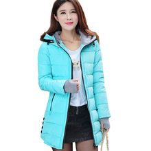 2017 Fashion Slim Ladies Jackets Coats Women's Cotton-Padded Jacket Winter Medium-Long Cotton Coat Plus Size Down Jacket  D77