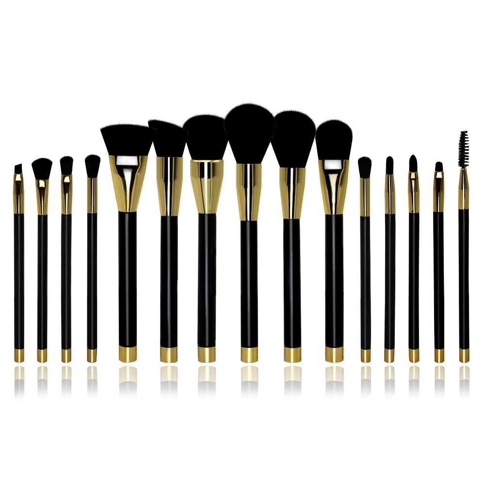 HAPPY MAKEUP 15pcs Professional Makeup Brushes Set Synthetic Hair Eyeshadow Powder Foundation Blush Lip Eyelash Cosmetic Kit