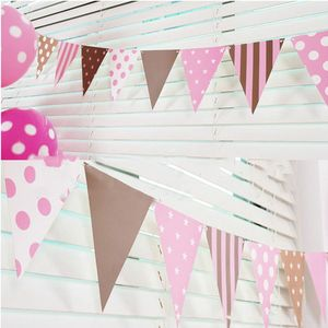 Image 4 - 3m 12 Flag Blue/Pink Paper Board Garland Banner For Baby Shower Birthday Party Decoration Kids Room Decoration Garland Bunting