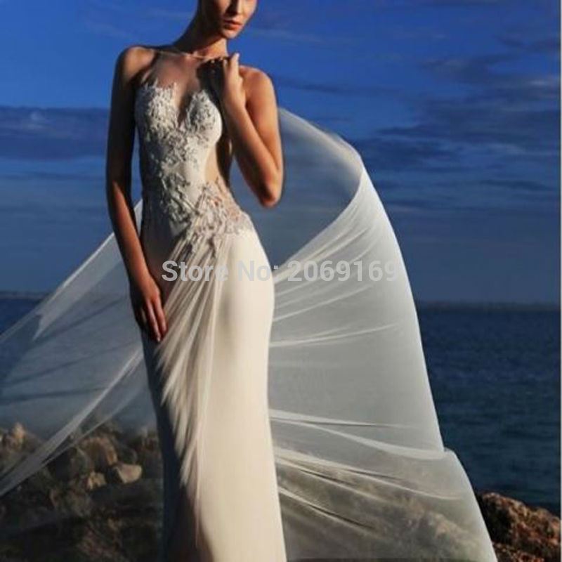 Vestido De Noiva 2019 New Sexy See Through Back O-Neck Off The Shoulder Appliques Beading Wedding Dress Floor Length Bridal Gown