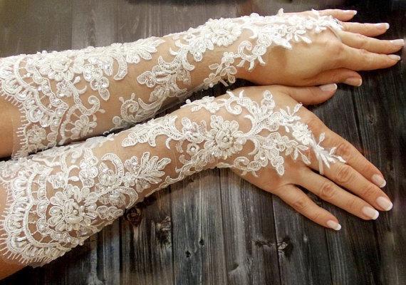 Extra Long Wedding Gloves French Lace Ivory White Fingerless