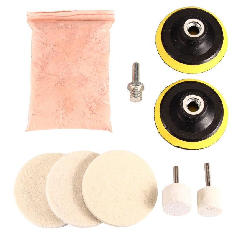 9pcs/set Watch Car Glass Polishing Kit Glass Scratch Removal Polishing Pad And Wheel 75mm Backing Pad 8Oz Cerium Oxide Powder