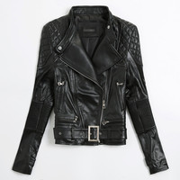Woman 100 Genuine Leather Jacket Fashion Street Black Sheepskin Real Leather Short Motorcycle Leather Suede Top