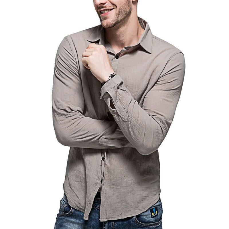 2018 Baumwolle Leinen Shirts Mann Sommer Weißes Hemd Sozialen Gentleman Shirts Männer Ultra Dünne Beiläufige Hemd Britischen Mode Kleidung Kaufe Eins, Bekomme Eins Gratis