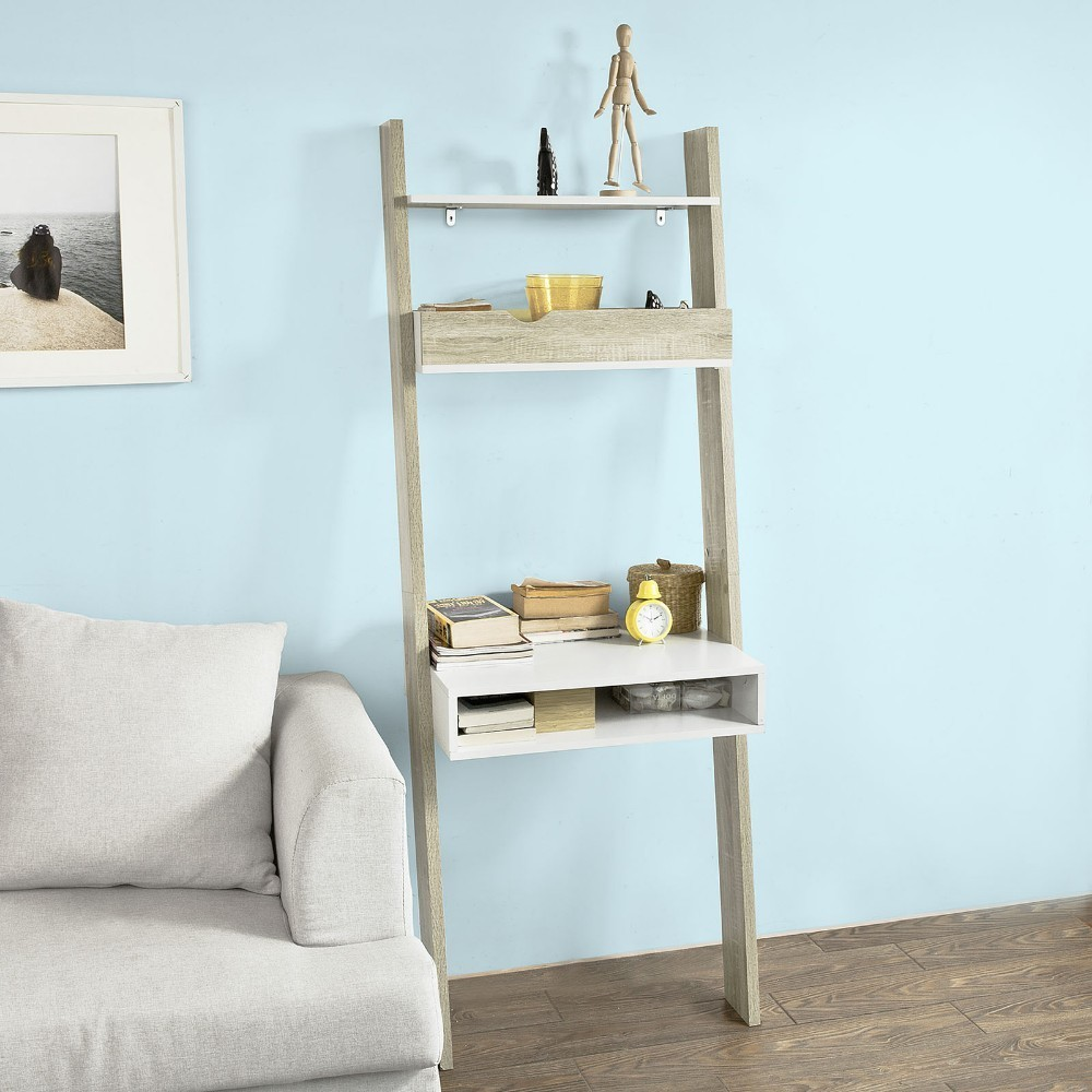 SoBuy FRG111-WN, Ladder Shelf Wall Storage Display Shelving Unit with Drawer & Desk Workstation