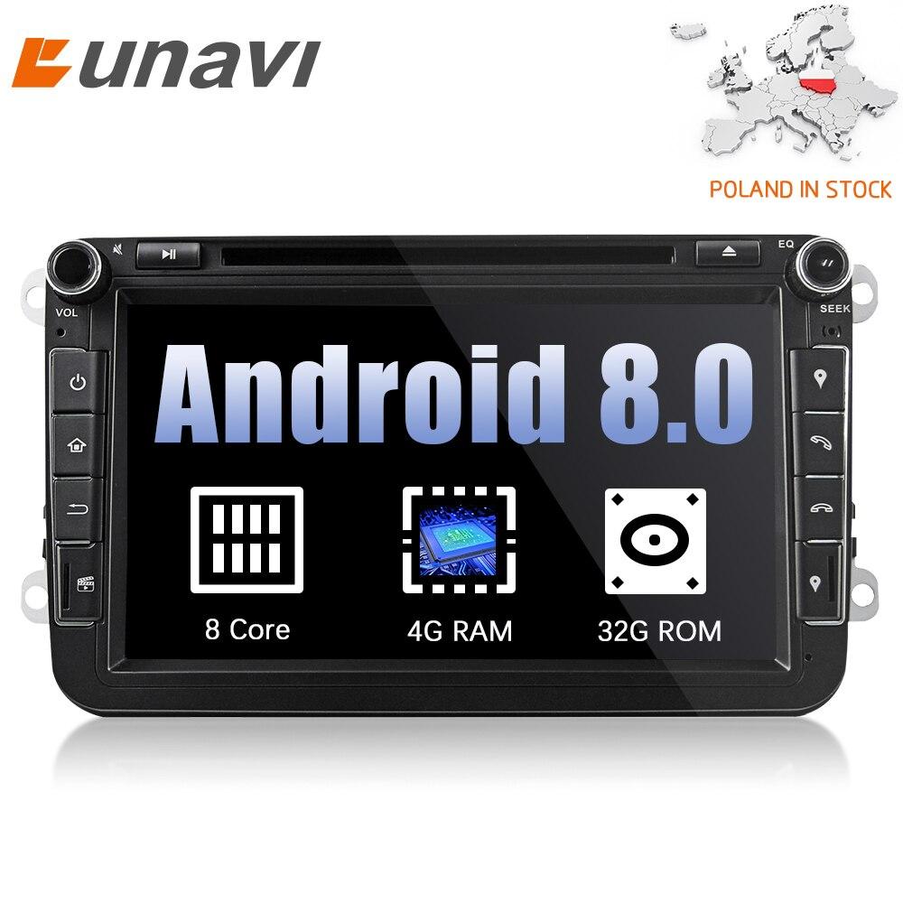Eunavi 2din Android 8.0 Octa Core 4 gb RAM Auto DVD für VW Passat CC Polo GOLF 5 6 Touran EOS t5 Sharan Jetta Tiguan GPS Radio bt