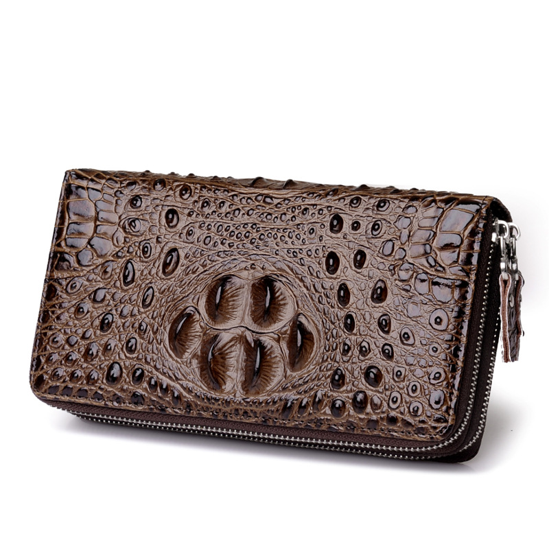 Men Genuine Leather Crocodile Pattern Wallet Fashion Small Long Business Wallets Male Double Zipper Purses Portefeuille Homme