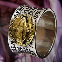 925 sterling silver jewelry gold Virgin Mary male ring