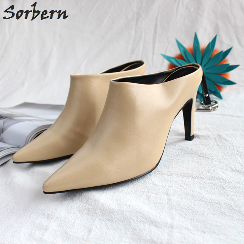 Sorbern Mature Pointed Toe Women Pump Sexy Shoes Mules Slip On Women Formal Shoes Stilettos Med Heels Ladies Shoes Size 43 DIY hot sale 2016 new fashion spring women flats black shoes ladies pointed toe slip on flat women s shoes size 33 43