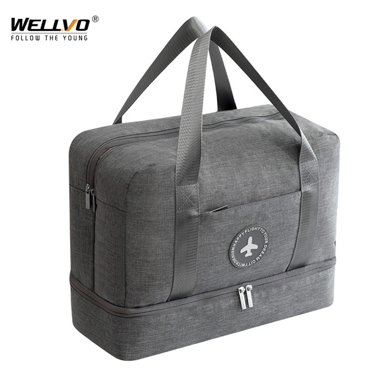 Wellvo Men Dry And Wet Separation Bags Waterproof Travel Duffles Women Oxford Large Capacity Weekend Bags Solid Handbags XA57ZC