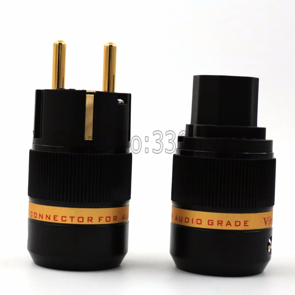 one pair Audio 99.999% pure copper 4U 24K gold Plated Schuko power plug+IEC Female Connectors free shipping one pair viborg krell schuko version 24k gold plated audio power plug for audio power wire
