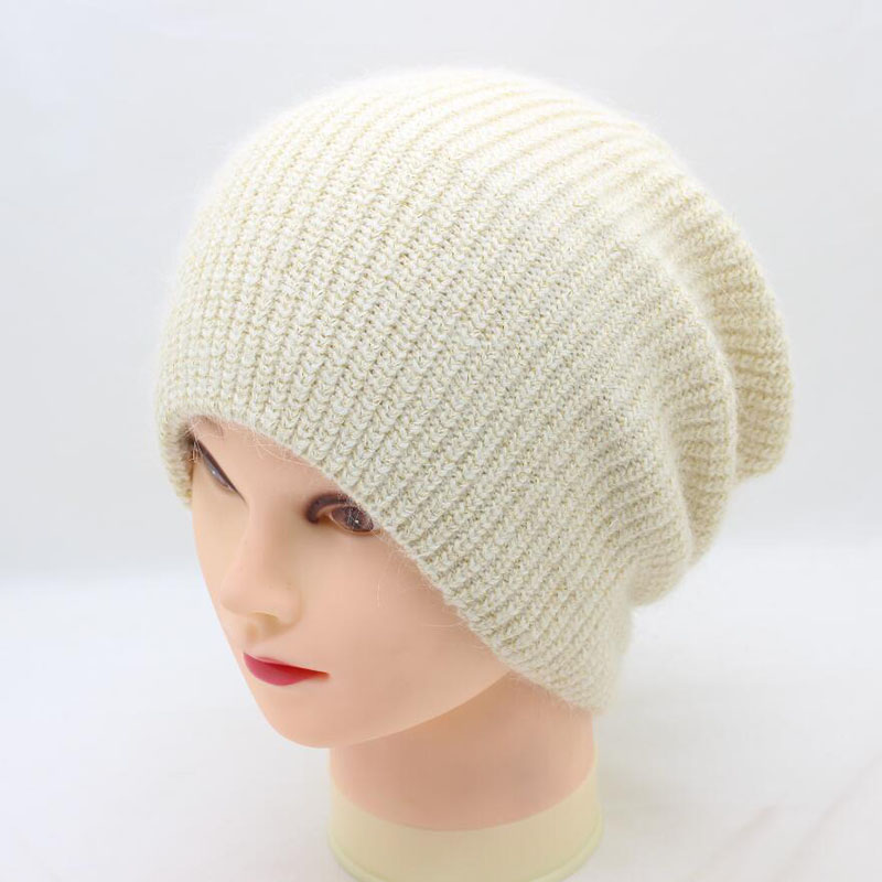 SUOGRY Women Winter Hats Hats Knitting Rabbit Fur Female Fur Colorful Gold Wire Hat Real Skullies Beanies Solid Color