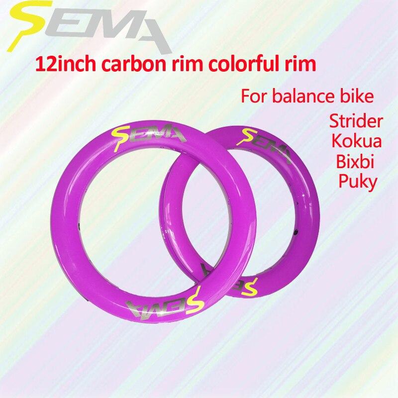 Offre spéciale jantes SEMA coloré carbone jante 12 pouces 203 balance vélo pas cher jante 30mm largeur livraison gratuite peut personnalisé pour les enfants