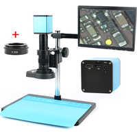 Autofoco SONY IMX290 HDMI TF Video Auto Focus industria microscopio Cámara + 180X C-lente de montaje + soporte + anillo de luz LED 144 + LCD de 10,1 pulgadas