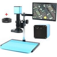 Autofocus SONY IMX290 HDMI TF Vídeo Auto Foco Microscópio Indústria 180X C-Montagem Da Lente Da Câmera + + Suporte + 144 Anel de Luz LED + 10.1