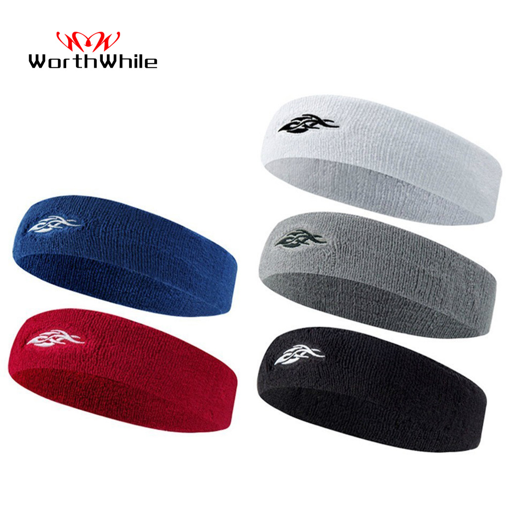 WorthWhile Cotton Elastic Sweatband Basketball Sports Headband Women Men Gym Fitness Sweat Hair Band Volleyball Tennis Running