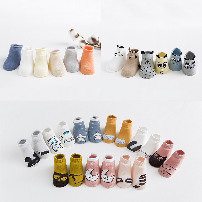AiKway 3 Pairs /Lot Super Value Combination! Baby Socks Cartoon Cotton Non-slip Socks Soft Newborn Boy Girl Infant Toddler Socks