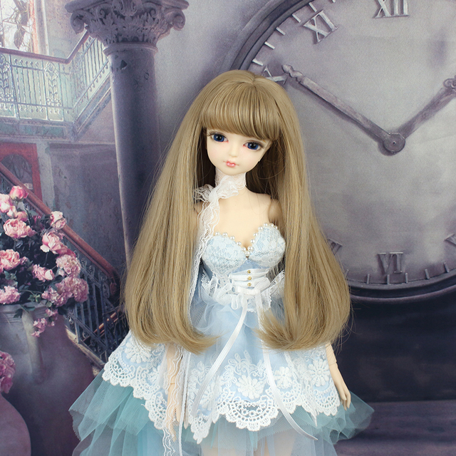 free shipping 1/4 bjd doll 45cm with/without clothes shoes long brown wavy hair makeup joint body 4