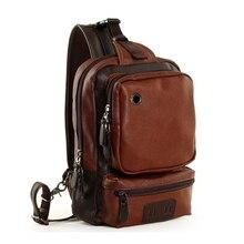 купить Brand Men's Shoulder Bag Vintage Men Crossbody Bag Men Chest Bags Casual Fashion PU Leather Men Messenger Bag онлайн