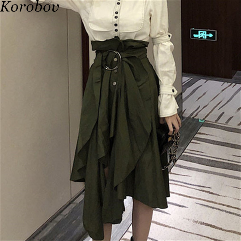 Trend Mark Korobov Harajuku Vintage Army Green Midi Skirts A-line High Waist Button Korean Lace Up Irregular Skirt 76898 Bottoms