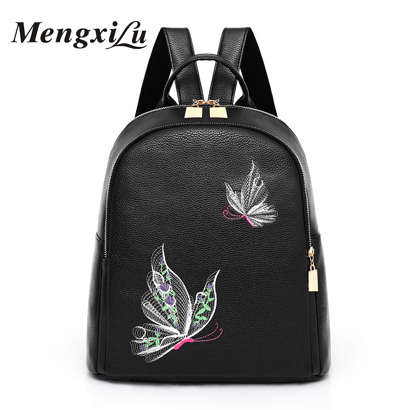 цены High Quality PU Leather Women Backpack Solid Butterfly Print School Bag For Teenager Girls Large Capacity Black Backpack Female