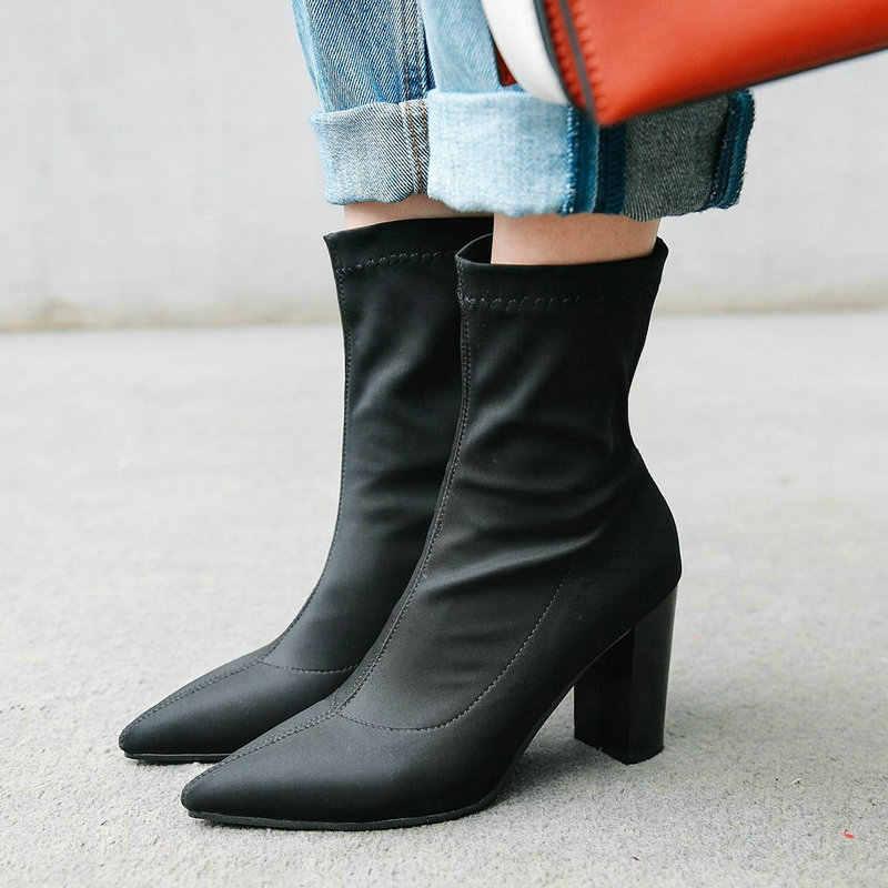 Siyah Kırmızı Mavi Sivri Burun Blok Yüksek Topuk Çorap Kadın Likra Streç kısa çizmeler Bayanlar Parti Elbise Güz Yaz Çizmeler 2019