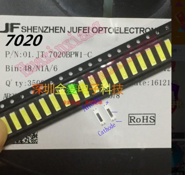 100PCS/Lot Jufei SMD LED 7020 3v 0.7W 240mA Cool White 10000-13000K For TV Backlight Application