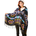 Moda 2015 mujeres del invierno a cuadros de lana chales y bufandas largo espesar cálido con botón borla de la bufanda de la alta calidad WS15306