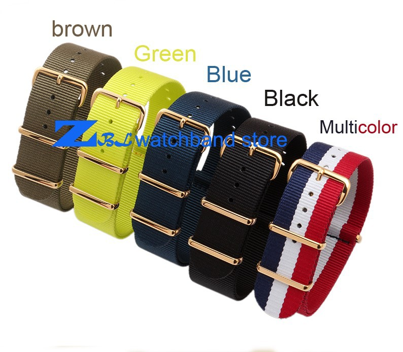 Nylon watchband  waterproof  watch strap with Gold  buckle  sport wrist NATO watch band 18mm  20mm Multi color can choose durable canvas fabric strap steel buckle wrist watch band 20mm 22mm pin buckle durable replacement watchband nato strap colorful