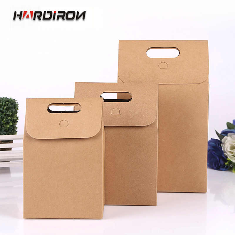 HARDIRON Thick kraft paper wedding party gift bag cake chocolate candy bag vertical food sealed portable box