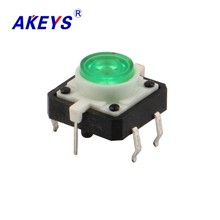 цена на 20PCS TS-G010 12*12 Momentary LED push button switch 6 pin DIP type vertical with column green top red top