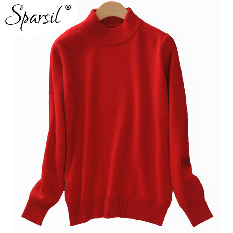 Sparsil 2019 Cashmere Sweater Women Christmas Knitted Sweater Tops Female Long Sleeve Autumn Winter Wool Turtleneck Pullovers