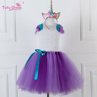 Flower Girls Tutu Dress Fancy Rainbow Princess Unicorn Dress With Headband Halloween Costume Kids Birthday Party