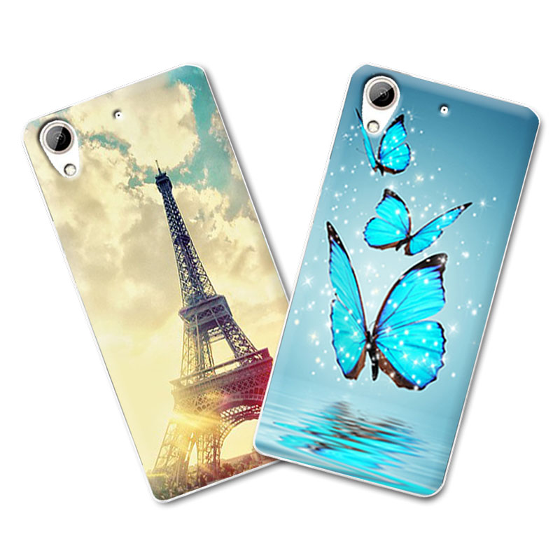 """Painted tiger butterfly Grid Case For funda HTC Desire 628 D628 Dual Sim Case Cover Soft TPU Coque For HTC 628 626 5""""+Gift"""