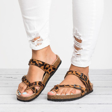 2019 New Female sandals women flats Retro Women's Leopard Pr