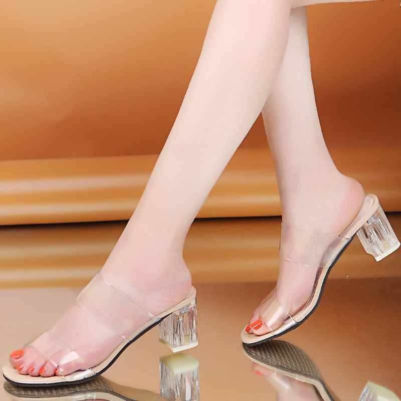 New Summer Transparent Slippers Women Shoes Woman Mules Slides Peep Toe Square High Heels Clear Slippers Female Shoes Plus Size