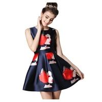 New Design Personality Girl Print Summer Dresses Slim O Neck Sleeveless Vintage Dress Brief Casual Tank