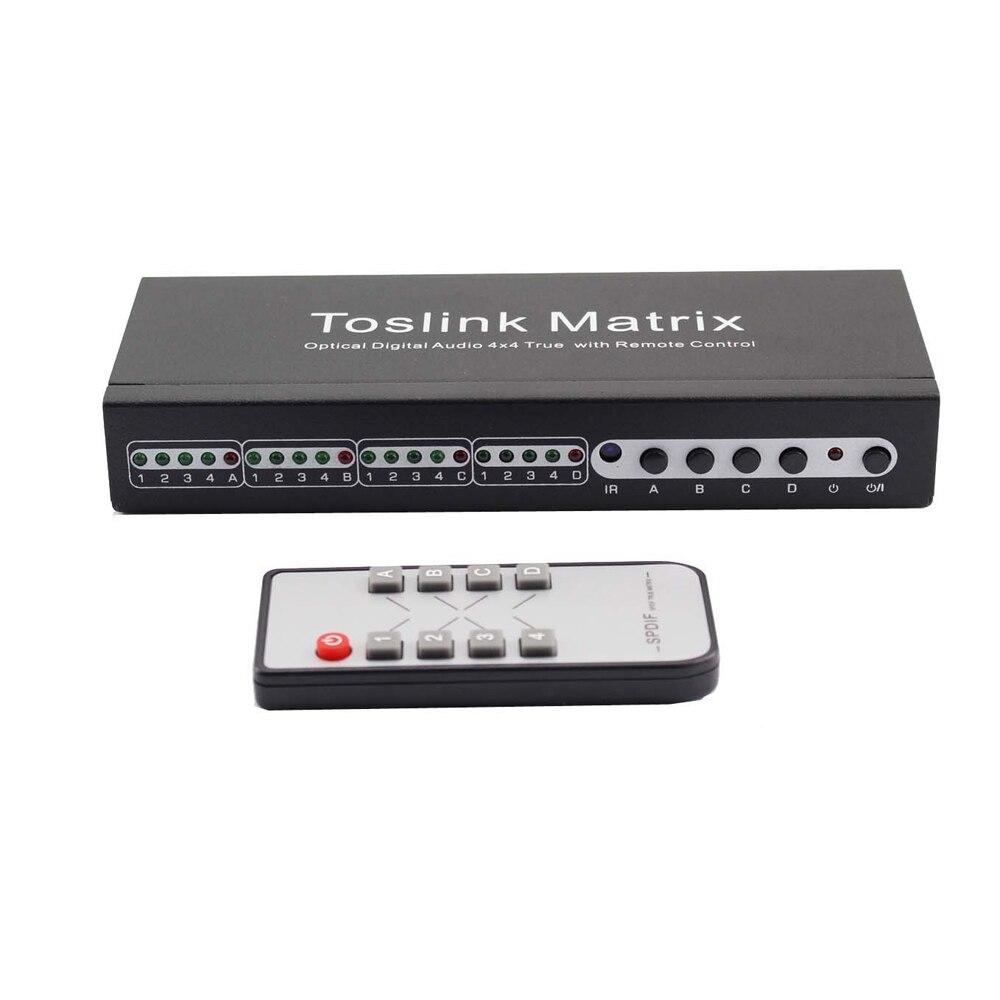 Toslink Matrice SPDIF Numérique Optique Audio Vrai Matrice 4x4 Commutateur Switcher Splitter 4 Dans 4 Out Vidéo Convertisseur télécommande