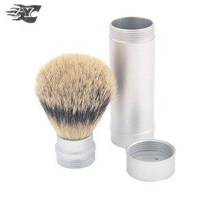ZY Men's Travel Silvertip Shaving Brush Customized Persional Beard Cleaning Brush Aluminum Tube Handle Case Lightweight