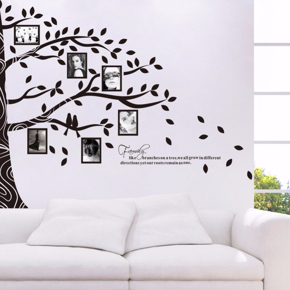 Black Tree Family Picture Photo Frame Memory Tree Quote Art Wall Stickers  DIY Photo Frame Tree Wall Decals In Wall Stickers From Home U0026 Garden On ... Part 37