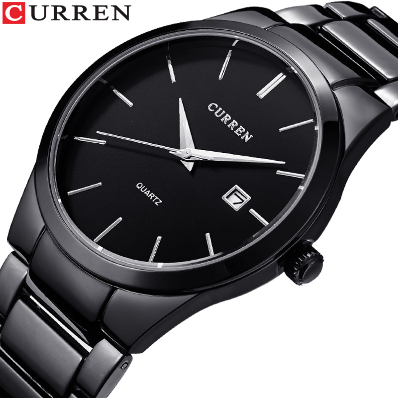 CURREN Fashion Business Calendar  Quartz Wrist Watch Stylish Men's Watch Military Waterproof Full Steel Male Clock