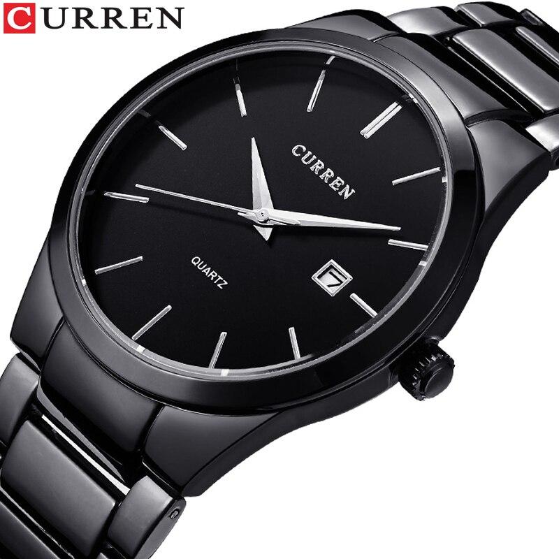 CURREN Fashion Business Calendar  Quartz Wrist Watch Stylish Men's Watch Military Waterproof Full Steel Male Clock