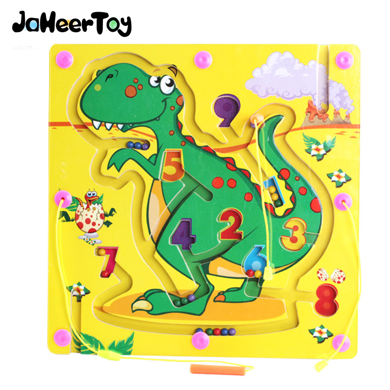 JaheerToy Educational Toys Magnetic Maze Toy Dinosaur Graphics Animals Pen Labyrinth Board Chess Game Children Learning Wood цена