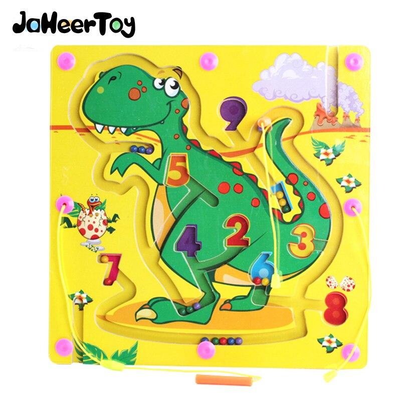 JaheerToy jouets éducatifs labyrinthe magnétique jouet dinosaure graphiques animaux stylo labyrinthe jeu d'échecs enfants apprenant le bois