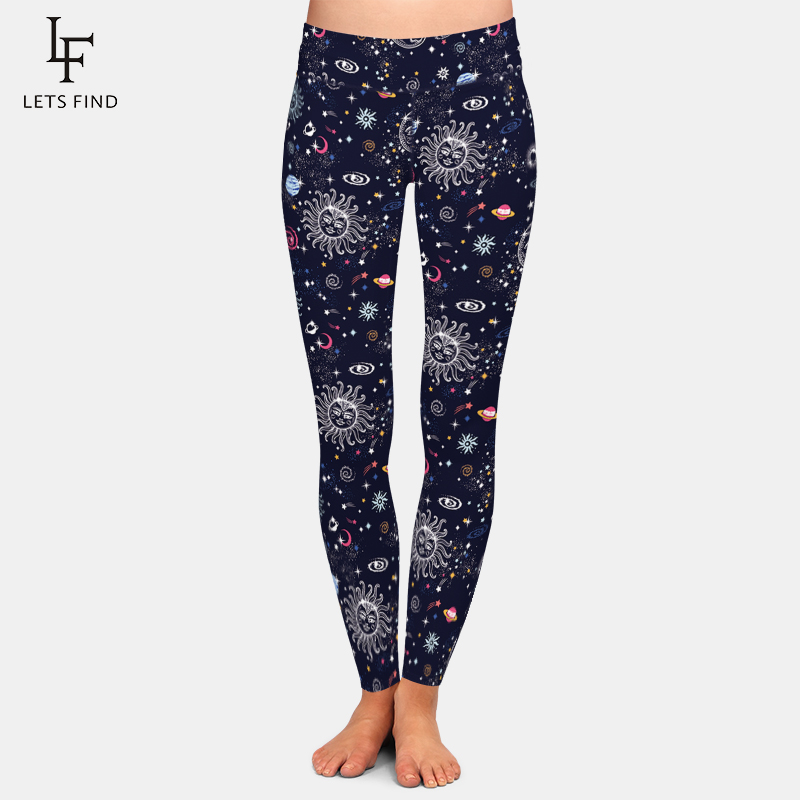 LETSFIND New Design Beautiful Galaxy Print Women High Waist Leggings Fashion Comfortable Milk Silk Elastic Leggings