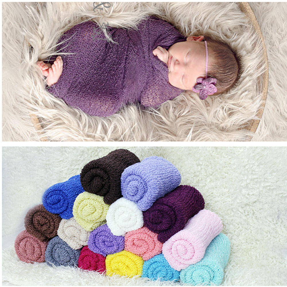 Soft Stretch Knit Wrap Photography Props Nubble Wraps For Newborn Infant Baby