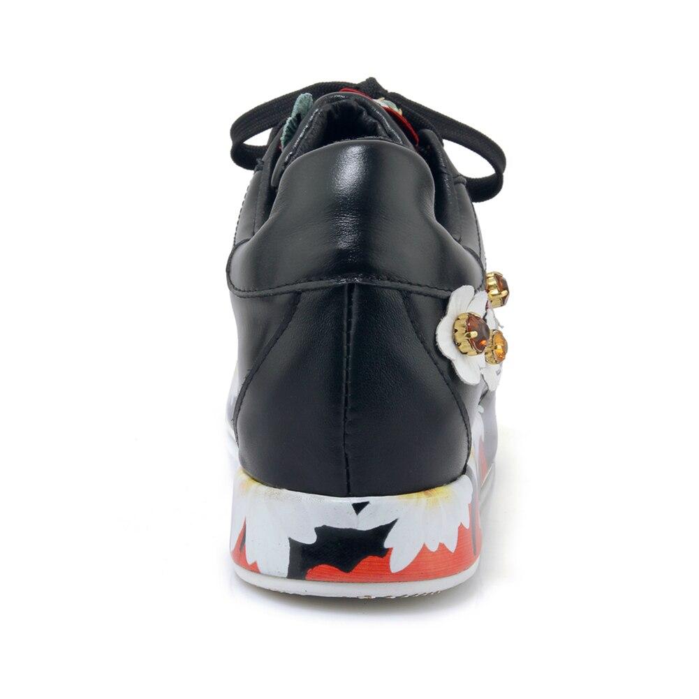 Semelles Fleurs Taille Dames Appartements En Doratasia Black Sneakers Printemps Décontracté Embroider Cuir À Femme embroider Chaussures Grande Véritable Compensées Femmes 40 33 White Marque 2019 88Uqn67IO